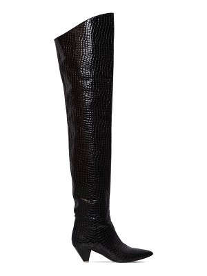 ATTICO 30mm asia croc embossed leather boots