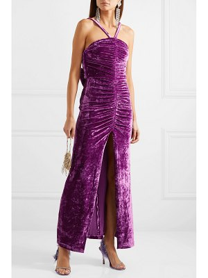 ATTICO bow-detailed ruched stretch-velvet maxi dress