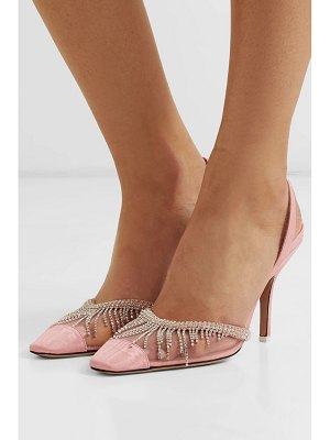 ATTICO crystal-embellished mesh and moire slingback pumps