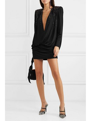 ATTICO crystal-embellished ruched jersey mini dress