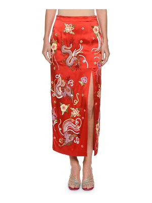 ATTICO Envers Embroidered-Dragon Satin Slim Skirt with Sequins Trim