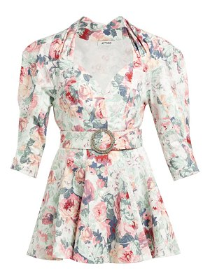 The Attico floral cotton twill mini dress