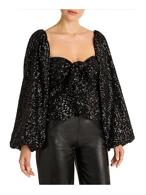ATTICO knot front sequin statement sleeve top
