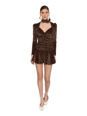 The Attico Leopard print stretch velvet mini dress