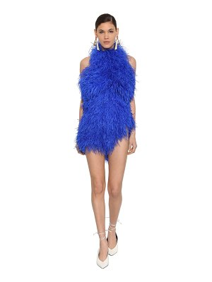 The Attico Ostrich feather embellished mini dress