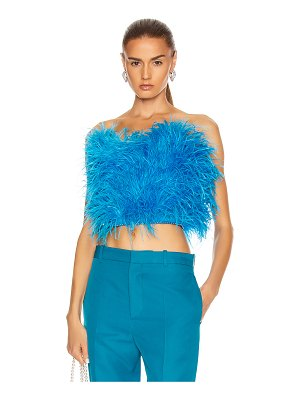 ATTICO ostrich feather strapless top