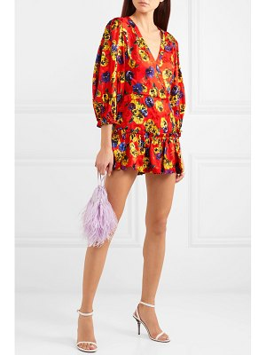 ATTICO ruffled floral-jacquard mini dress