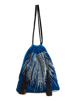 ATTICO Sequin and bead-embroidered velvet bag