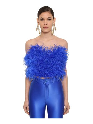 The Attico Strapless feather embellished top