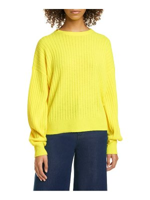 Autumn Cashmere bishop sleeve ribbed cashmere sweater