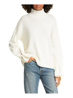Autumn Cashmere button sleeve mock neck cashmere sweater