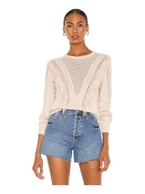 Autumn Cashmere cable & mesh fringe crew sweater