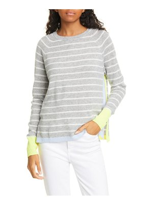 Autumn Cashmere contrast trim stripe cashmere sweater
