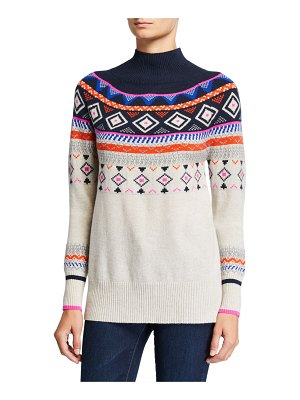 Autumn Cashmere Fair Isle Mock-Neck Cashmere Sweater