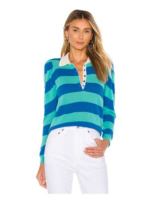 Autumn Cashmere puff sleeve rugby stripe polo