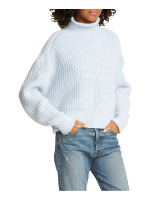 Autumn Cashmere shaker stitch mock neck cashmere & wool blend sweater