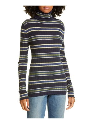 Autumn Cashmere stripe ribbed turtleneck cashmere sweater