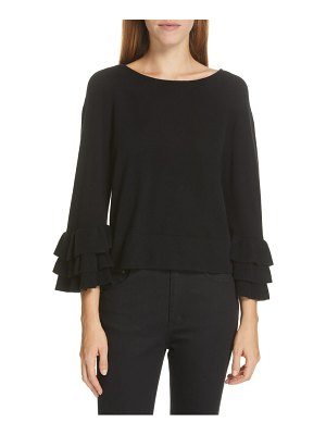 Autumn Cashmere tiered ruffle sleeve cashmere sweater