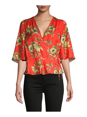 AVA & AIDEN Floral-Print Self-Tie Wrap Top