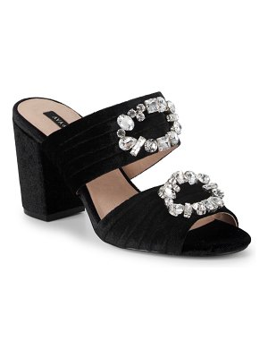 AVA & AIDEN Perla Velvet Embellished Block Heel Sandals