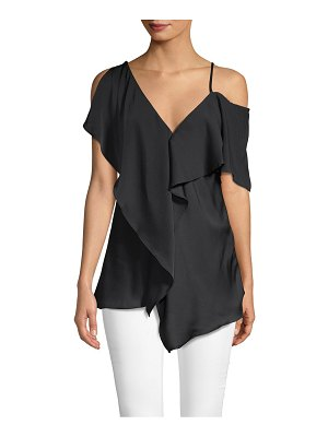 AVA & AIDEN Ruffled Cold-Shoulder Layer Top
