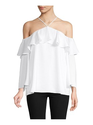 AVA & AIDEN Ruffled Cold-Shoulder Top