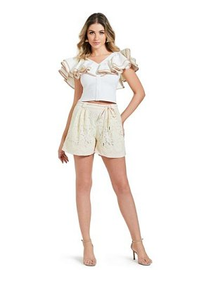 Avantlook High-Rise Belted Lace Shorts