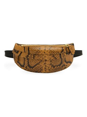 Avec La Troupe python embossed belt bag
