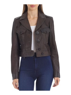 AVEC LES FILLES Cropped Lamb Leather Trucker Jacket