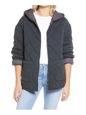 AVEC LES FILLES french terry box quilt hooded zip jacket
