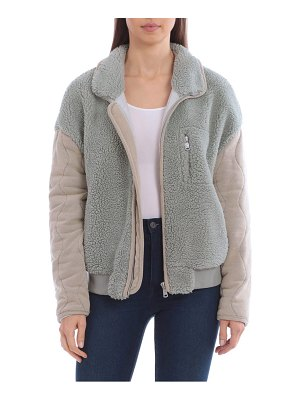 AVEC LES FILLES mixed media quilted sleeve teddy jacket