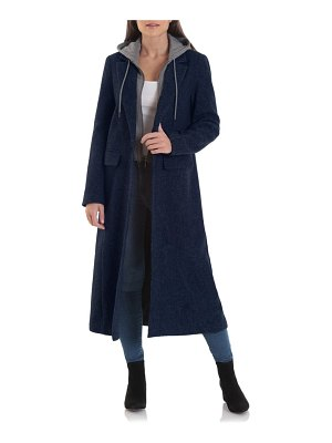 AVEC LES FILLES moto wool blend coat with removable hooded bib