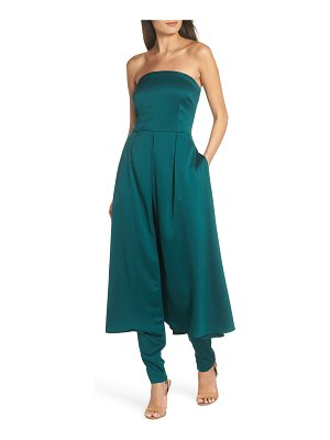 AVEC LES FILLES strapless jumpsuit with skirt overlay