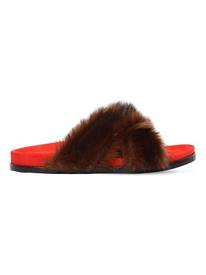 Avec Moderation 20mm faux fur slide sandals