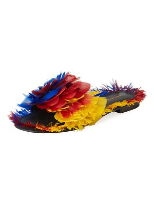 Avec Moderation Bora Bora Feather-Embellished Slide Sandal
