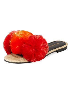 Avec Moderation Bora Bora Pompom-Embellished Slide Sandals