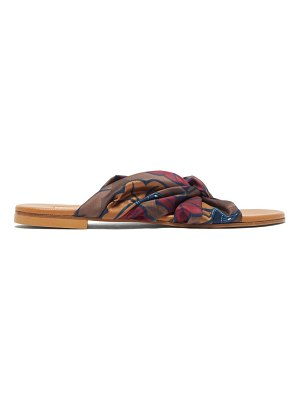 Avec Moderation guadeloupe floral-print silk-twill slides
