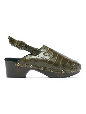 Avec Moderation ruka crocodile-effect leather and shearling clogs