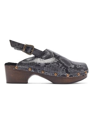 Avec Moderation ruka snake-effect leather and shearling clogs
