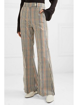 A.W.A.K.E. checked cotton-blend twill flared pants