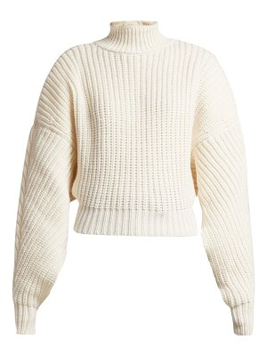 A.W.A.K.E. Cropped button-back ribbed-knit wool sweater