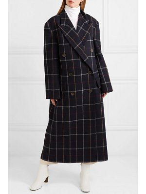 A.W.A.K.E. double-breasted checked wool-blend coat