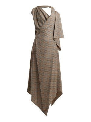 A.W.A.K.E. Draped checked wool dress