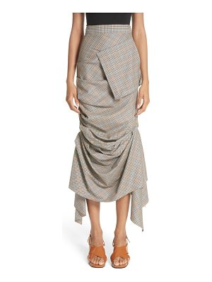 A.W.A.K.E. draped plaid wool skirt
