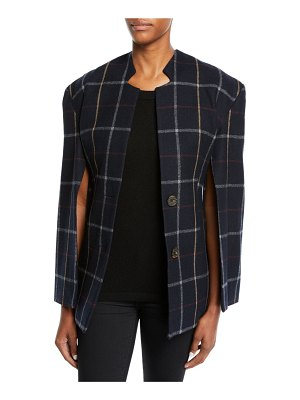 A.W.A.K.E. Fitted Notch-Collar Check Jacket with Open Sleeves