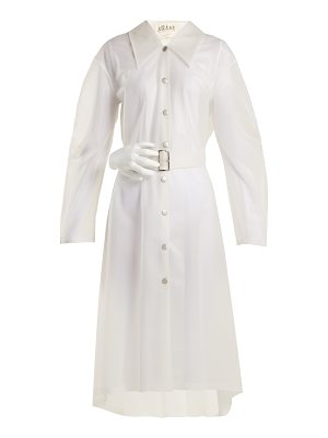 A.W.A.K.E. Frosted-PVC sculpted hand-buckle trench coat
