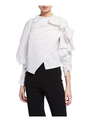 A.W.A.K.E. Gathered High-Neck Top w/ Exaggerated Sleeves