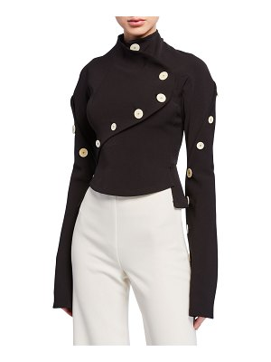 A.W.A.K.E. High-Neck Long-Sleeve Top with Buttons