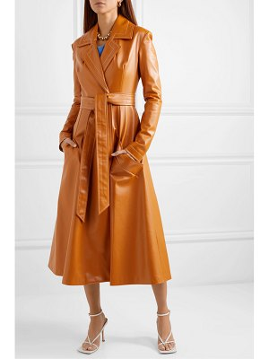 A.W.A.K.E. Mode belted faux leather coat