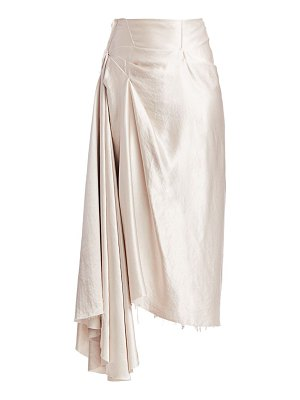 A.W.A.K.E. Mode draped metallic asymmetric skirt